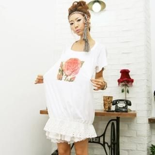 Picture of BBon-J Lace-Hem T-Shirt Dress 1023032040 (BBon-J Dresses, Womens Dresses, South Korea Dresses, T-Shirt Dresses)