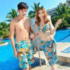 Couple Set: Men Floral Swim Shorts + Women Floral Bikini 1596