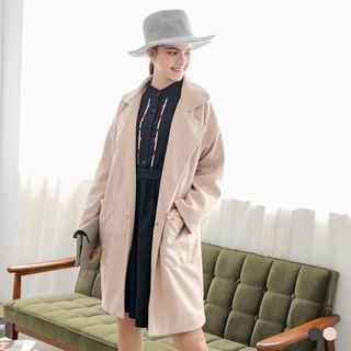 Woolen Notched Lapel Longline Coat 1055700803