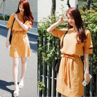 Short-Sleeve Tie-Waist Dress 1596