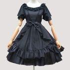 Plain Ruffle Trim Short Sleeve Chiffon Dress 1596