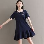 Ruffle Hem Short Sleeve Polo Shirt Dress 1596