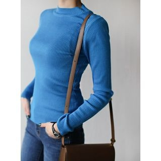 Colored Round-Neck Ribbed Top 1057395040