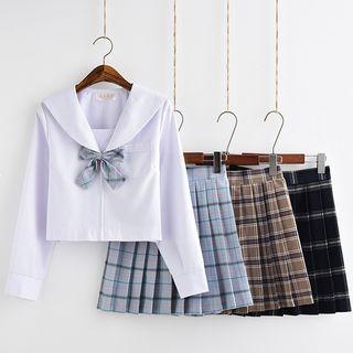 Image of Sailor Collar Top / Plaid A-Line Skirt / Cardigan / Set