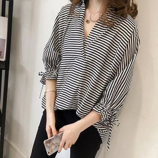 Happo 3/4-Sleeve Striped Blouse Blue - One Size