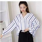 Striped V-Neck Long-Sleeve Blouse 1596