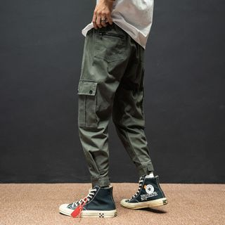 Image of Cargo Harem Pants with Adhesive Tabs