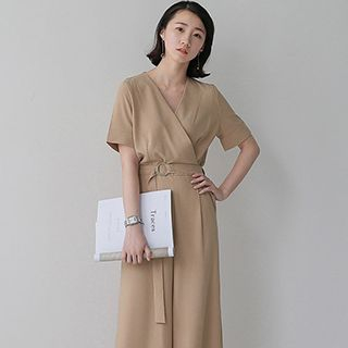 V-Neck Short-Sleeve Jumpsuit 1051125564