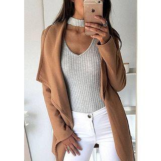 Ribbed Long Sleeve Cutout Bodysuit Top