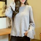 Plain Bell-Sleeve Sweater 1596