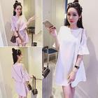 Embellished Elbow Sleeve Cold Shoulder A-Line Dress 1596