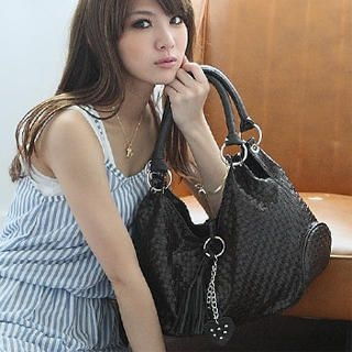 Buy SkyBlue Tassel Woven Hobo Bag 1023037594