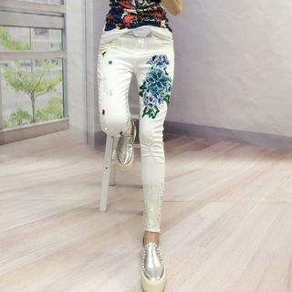 Embroidered Skinny Jeans 1061035741