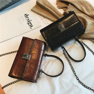 Embossed Leather Chain Strap Crossbody Bag