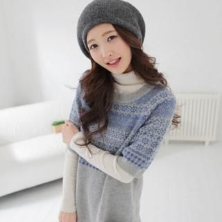 Picture of CLICK Elbow-Sleeve Patterned Knit Dress 1021706151 (CLICK Dresses, Womens Dresses, South Korea Dresses)
