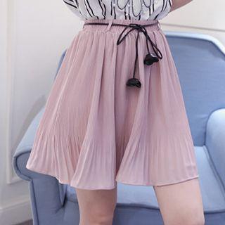 Tasseled Tie Waist Pleated Mini Skirt