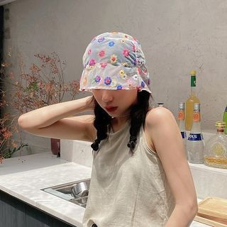 Image of Floral Embroidered Mesh Bucket Hat As Shown In Figure - One Size