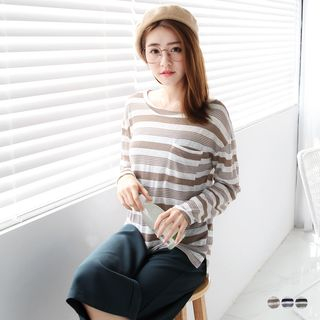 Stripe Pocketed Dolman Knit Top 1055355619