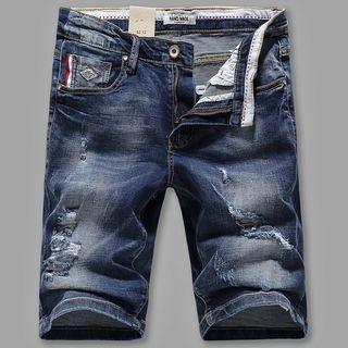 Distressed Washed Denim Shorts 1057606939