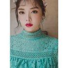 High-Neck Ruffle-Tiered Mini Lace Dress 1596