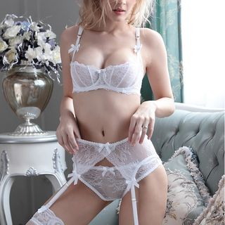 Set: Half Cup Lace Bra + Panties 1051640228