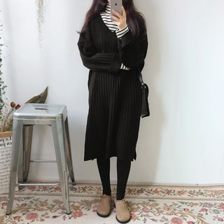 V-Neck Ribbed Sweater Dress 1061926260