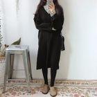V-Neck Ribbed Sweater Dress 1596