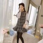 Mock Two-Piece Long-Sleeve Plaid Mini Dress 1596