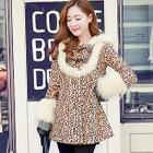 Leopard-Print Faux-Fur Trim Coat 1596