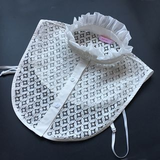 Image of Embroidered Lace Frilled Decorative Collar White - One Size