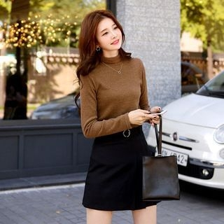 Turtle-Neck Ribbed Slim-Fit Top 1063064432