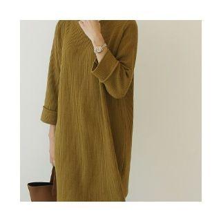 Round-Neck Ribbed Knit Dress 1062942317