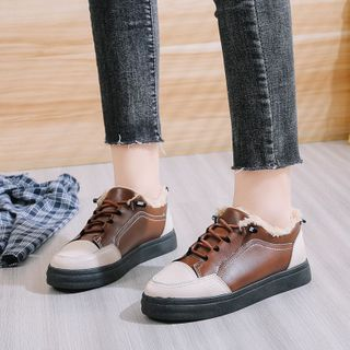 Two-tone Panel Fleece-lined Lace-up Shoes