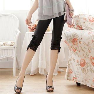 """Buy Tokyo Fashion Lace-Trim Drawstring-Side """"Bow"""" Leggings 1022972656"""
