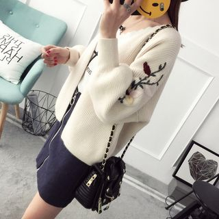 Flower Embroidered Ribbed Cardigan 1057667264