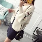 Flower Embroidered Ribbed Cardigan 1596