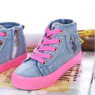 Zip-Accent Denim Kids Sneakers