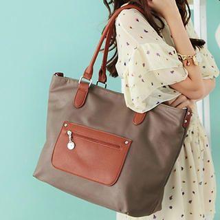 Two-Tone Panel Shoulder Bag