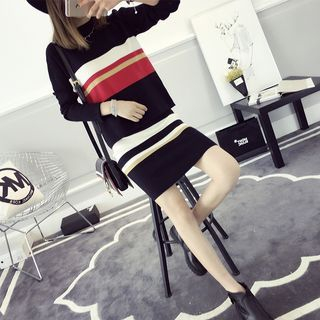 Set: Striped Knit Top + Knit Skirt 1056251175