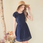 Cap-Sleeve Lace-Overlay Shirred Dress 1596