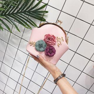 Flower Applique Chain Strap Crossbody Bag