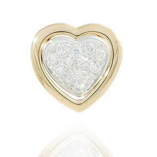 Image For 18K Yellow Gold Heart Shape Pendant with Diamonds