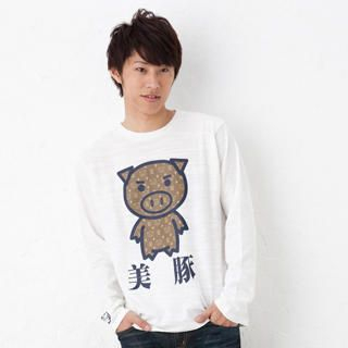 Long Sleeve Print T-Shirt Designer Beautiful Pig