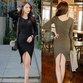 V-Neck Rib Knit Dress 1053962459