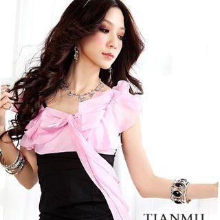 Buy Tian Mu Bow Accent Chiffon Dress 1023046963