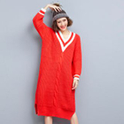 V-neck Ribbed Knit Dress 1596