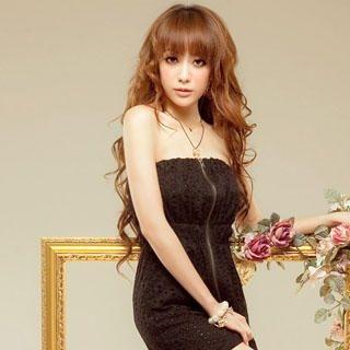 Buy Sylvia Strapless Zip-Up Dress Black – One Size 1022976243