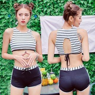 Stripe Drawstring Bikini 1064834030