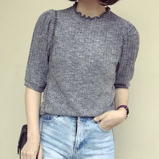 Ribbed Elbow Sleeve Knit Top 1058427977
