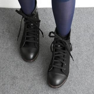 Picture of HARU Faux-Leather Trim Canvas Boots 1022242808 (Boots, HARU Shoes, Korea Shoes, Womens Shoes, Womens Boots)